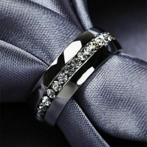 Unisex Silver Stainless Still With Rhinestone Ring